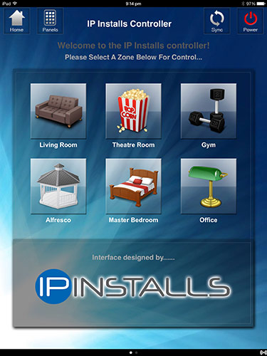 IP Installs Home Automation zone selection screen